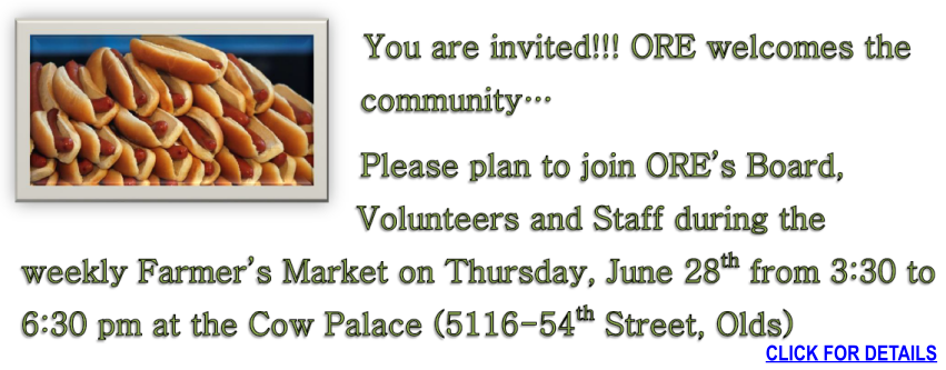 Everyone is invited to the Olds Farmers Market on June 28th for hot dogs and fun!