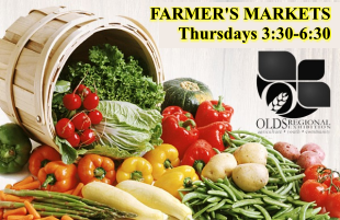 The Farmer's Market in Olds Alberta is held at the Cow Palace at the Exhibition Grounds. Thursday afternoons till September 24, 2020.