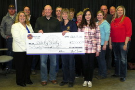 Accepting the generous community support from the Rotary Club of Olds was OAS President, Curtis Flewelling, Vice President, Eric Iversen, Finance Chair, Colton Hamilton, Directors At-Large, Anne Burgess and Joanne Wright. Also on hand were Directors Ciara Buchanan, Scott Harvie, John Hunder, Laurie Hunter, Heather Osterhout, Donna Smith, Events Manager, Tracy Gardner and Executive Director, Tami Gardner.